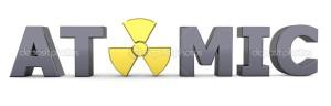 Black Word Atomic - Yellow Nuclear Symbol