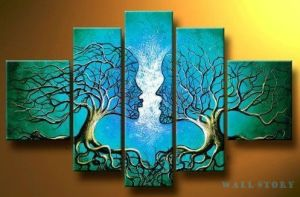 Free-Shipping-Hand-painted-Blue-Tree-Human-Brain-Abstract-Oil-Painting-on-canvas-3pcs-set-DY
