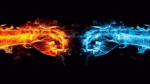 Fire-and-Water-Hand-Fight-Wallpaper