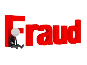 3d man tied with text 'fraud' after committing crime.