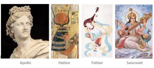 Culture-gods-of-music-Apollo-Hathor-Feitian-Saraswati