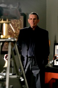 "FRINGE: Leonard Nimoy guest-stars as William Bell, owner and founder of Massive Dynamics, in the FRINGE season finale episode ""There's More Than One of Everything"" airing Tuesday, May 12 (9:01-10:00 PM ET/PT) on FOX. ©2009 Fox Broadcasting Co. CR: Craig Blankenhorn/FOX"