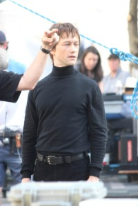 Joseph Gordon-Levitt and Charlotte Le Bon shooting on location in Montreal in the Old Port in front of Notre Dame Leglise. Pictured: Joseph Gordon-Levitt Ref: SPL753294  170614   Picture by: Splash News Splash News and Pictures Los Angeles:310-821-2666 New York:212-619-2666 London:870-934-2666 photodesk@splashnews.com