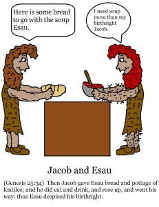 Jacob and Esau colored page with scripture
