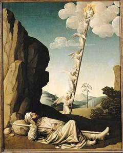 XIR162153 Jacob's Ladder, c.1490 (oil on panel) by French School, (15th century) oil on panel Musee du Petit Palais, Avignon, France French, out of copyright