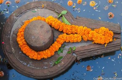 Lingam and Yoni representing the Hindu gods Shiva and Shakti at a temple in Varanasi