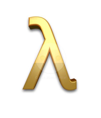 3d Gold greek small letter lamda