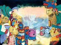 Aubrey-Williams-Dawn-and-Evening-Star-Olmec-Maya-series-1982-Oil-on-canvas-132-x-208-cm-c-Aubrey