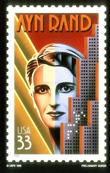 Ayn Rand, author of ``The Fountainhead,'' is honored on a new 33-cent U.S. commemorative stamp in the American Literary Arts series. Her 1943 novel was made into a 1949 motion picture starring Gary Cooper. (AP Photo/U.S. Postal Service)