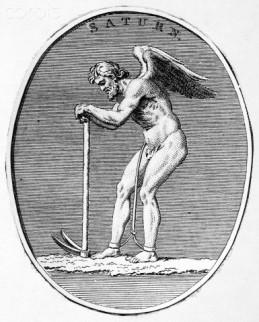Original caption: Mythology. Saturn - The ancient Roman God of agriculture. Identified with the Greek God of Kronos. Undated illustration. --- Image by © Corbis