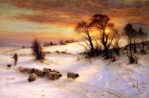 Joseph Farquharson - Herding Sheep in a Winter Landscape at Sunset
