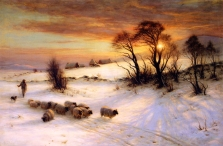 Joseph Farquharson - Herding Sheep in a Winter Landscape at Sunset
