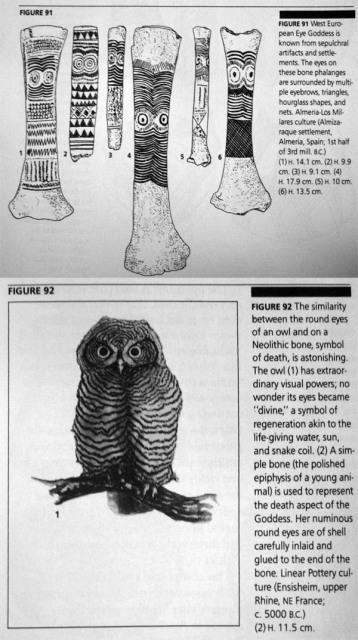 Marija Gimbutas - owl eyes regeneration symbol