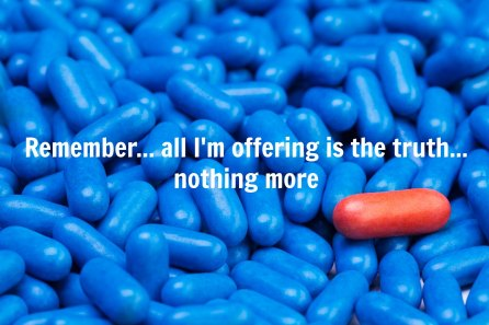 Close shoot of one red drug pill laying on many blue tablets