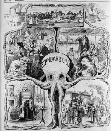 "Original caption: Illustration criticizing the pollution of New York's air by the Standard Oil plant in the Bronx. The company is depicted as ""A HORRIBLE MONSTER, WHOSE TENTACLES SPREAD POVERTY, DISEASE AND DEATH."" Published July 19th, 1880. New York, New York, USA"