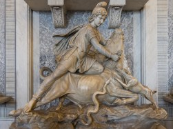 """""""Tauroctony"""" - Mithras slaying a bull. Pio Clementino Museum; Hall of Animals. Vatican Museums."""