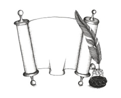 Torah set symbols: quill pen, Torus scroll, inkwell