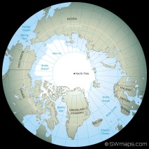 A generic map of the Arctic and North Pole showing North American, Asia and Europe continents. Countries of Greenland, Canada, United States, Russia, Finland, Sweden, Norway and Iceland. Arctic Ocean sea ice is also shown. View from straight above North Pole.