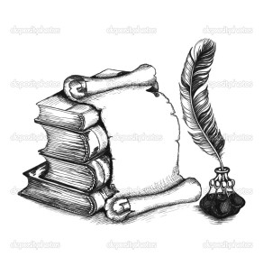 Academic and education set: books, scroll, pen (feather), and beauty inkwell. Vector illustration. EPS10