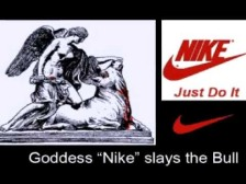 GODDESS NIKE S LAYS THE BU LL