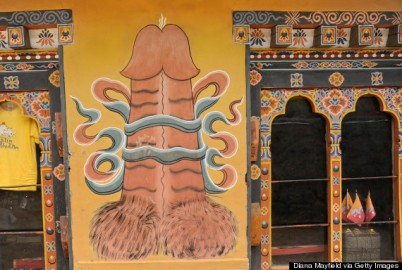 Giant phallus painted on exterior of souvenir shop, near Chimi Lhakhang. It is believed to keep away evil spirits.