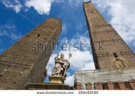stock-photo-view-to-the-famous-asiine ll i-and-gaRisenda-toweRs-in-bo l ogna-ita l y-bui l t-in-cen tur y-asine ll i-289489190
