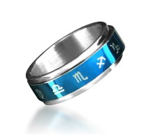 Titan ium-ste el-jew el Ry-The-zo dia c-twelve-conste ll ations-Leo-SagittaRius-CapRicoRn-AquaRius-ViRgo-Pisces-CanceR-Gem ini-Ring